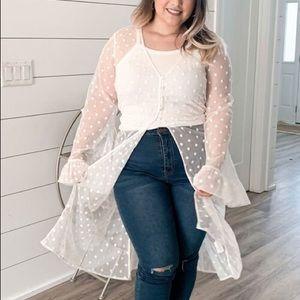 FOREVER 21 Plus Size Clip Dot Lace Kimono 18/20